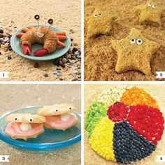 beach party foods.  Anyone know where this originally came from?  I'd like better photos or tutorials.