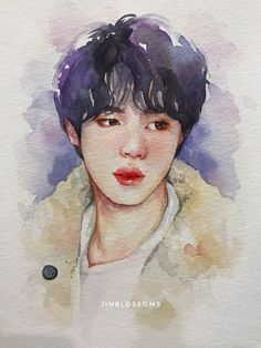 """""""stay warm and enjoy magic shop 💜✨ Kpop Drawings, Art Drawings Sketches Simple, Watercolor Portraits, Watercolor Paintings, Bts Art, Kpop Fanart, K Pop, Art Inspo, Painting & Drawing"""