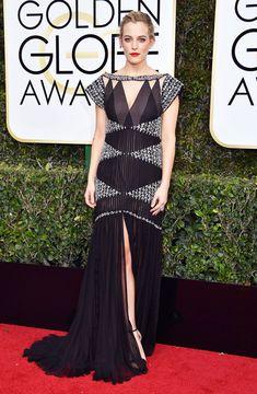 Riley Keough Dress: Chanel Celebrity Red Carpet, Celebrity Dresses, Celebrity Style, 74th Golden Globe Awards, Golden Globes, Jimmy Fallon, Jimmy Choo, Riley Keough, Glamour