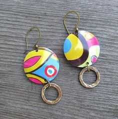 Retro Tin Disc Earrings by freshbakedjewelry on Etsy, $24.00