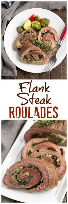 Flank Steak Roulades | A butterflied steak filled with spinach, mushrooms and Provolone cheese @lizzydo