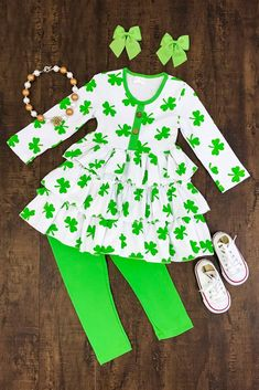 Lila Lime Green Clover Ruffle Boutique Outfit