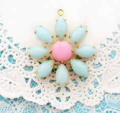 Daisy Flower Light Blue and Pink Rhinestone Vintage Glass Stone Floral Pendant Brass Drop - 1 by alyssabethsvintage on Etsy