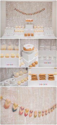 Neutral Dessert Table - love !!! The white box risers
