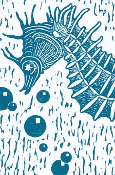 exquisite corpse project: linoleum block print using turquoise water-based ink on paper