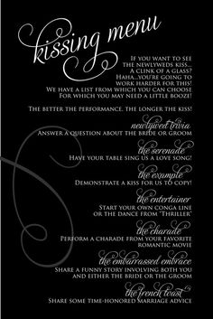 "Wedding reception games and unique ideas to keep guests happy! - Wedding Party Not sure if I'd ever actually do this ""Kissing Menu"" idea, but I kinda love it! Wedding Trends, Wedding Tips, Our Wedding, Dream Wedding, Wedding Stuff, Wedding Reception Games For Guests, Wedding Music, Wedding Reception Entertainment Ideas, Trendy Wedding"