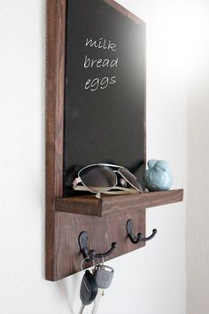 Chalkboard Key Holder, Chalkboard organizer, Rustic Chalkboard, Entry Organizer, Key Holder, Kitchen Decor, Mail and Key Holder - pinned by pin4etsy.com