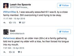 The trending hashtag #WhenIWas shows that harassment and violence often begin at a young age.