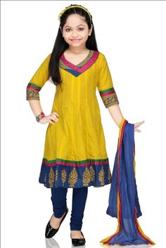 YELLOW COTTON READYMADE ANARKALI SUIT