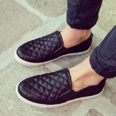 Steve Madden Black Quilted Slip On ECENTRCQ Adorable quilted leather slip  on sneakers in matte black color. Worn only a handful of times!