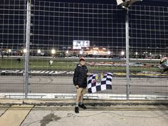 NASCAR Little boy (Joel Cram) Kevin brought on the track, took a selfie and gave him the checkered flag. Take That, Bring It On, Kevin Harvick, Checkered Flag, Nascar, Little Boys, Basketball Court, Track, Racing
