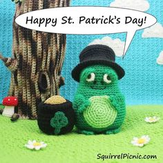 ...from your friends at Squirrel Picnic. #stpatricksday #4leafclover #crochet #amigurumi #green #stpattys #wearinggreen #goodluck by squirrelpicnic