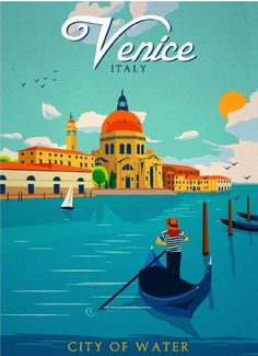 Venice City of Water Italy Italian Art Travel Advertisement Poster Print in Collectibles, Art | eBay
