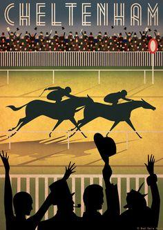 Original Design Cheltenham Races Racecourse A3 Poster Horse Art Deco Bauhaus Print Vintage Vogue Horses Animals Royal Ascot via Etsy