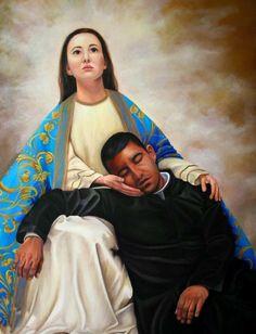 Nuestra Señora de San Juan de los Lagos sosteniendo al Sacerdote y Mártir Cristero San Pedro Esqueda. Pintura de Fernando Campos.