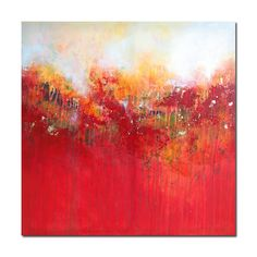 Original Art Canvas Painting Modern Contemporary Red Orange Yellow Acrylic Large Abstract Wall Art.