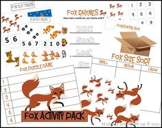 Fox Activity Pack -- letter x Preschool Letters, Preschool Worksheets, Kindergarten Activities, Preschool Ideas, Therapy Activities, Book Activities, Woodland Animals Theme, Forest Animals, Woodland Creatures