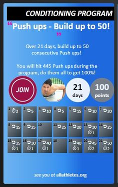 Build up to 50 consecutive Push ups over 3 weeks! Choose this one if you can do around 10 comfortably, otherwise search out our introductory Push up challenge to do first!  Schedule, follow and succeed at at our free fitness challenge platform! www.allathletes.org Exercise Challenges, Challenges To Do, Push Up Challenge, Workout Challenge, 5 Min Plank, Free Fitness, Tricep Dips, Burpees