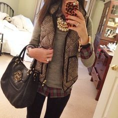vest with plaid shirt for women - Google Search