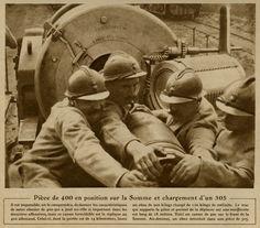 Artilleurs français chargeant une pièce de 400, 1916