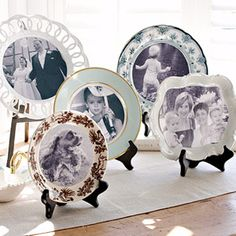 collection of decorative plates at once. Pull out family photos or your favorite vacation snapshots, and open your cabinets in search of china frames. Use a compass to mark the images with cut lines. Cut out the photos and adhere them to the plates with double-sided tape.