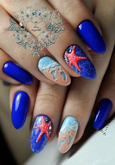 Nautical Nail Designs to Wear This Summer - Nageldesign - Nail art - Nautical Nail Designs, Beach Nail Designs, Nautical Nails, Cute Nail Designs, Tropical Nail Designs, Ocean Nail Art, Beach Nail Art, 3d Nail Art, Hallographic Nails