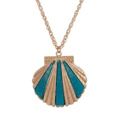 Wholesale gold necklace seashell pendant wrapped blue thread