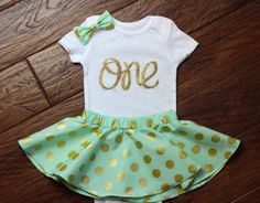 First Birthday Outfit with Twirl Skirt and Hair by babyOclothing