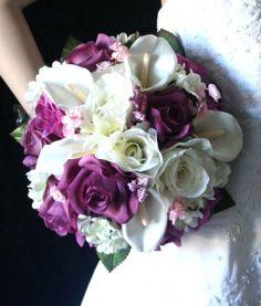 Elegant Garden Modern Shabby Chic Spring Summer Vineyard Purple Silver White Bouquet Wedding Flowers Photos & Pictures - WeddingWire.com