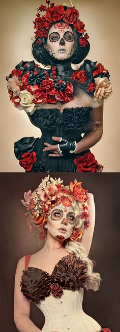 Red and black sugar skull makeup with floral corset and orange sugar skull makeup with floral corset.