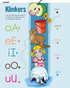 Klinkers | Activities & learning | YourParenting School Posters, Classroom Posters, Classroom Activities, Toddler Activities, Classroom Ideas, School Fun, Pre School, Afrikaans Language, Alphabet For Toddlers