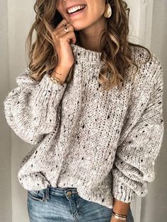 Vintage Cotton Long Sleeve Knit Sweaters For Women – Fashionshoeshouse Casual Sweaters, Vintage Sweaters, Pullover Sweaters, Sweaters For Women, Women's Sweaters, Chunky Knits, Oversized Sweaters, Winter Sweaters, Sweater Outfits