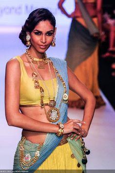 Former Miss India Amruta Patki walks the ramp for Dipti Amisha during the India International Jewellery Week (IIJW), held at Grand Hyatt, Mumbai, on August 06, 2013.