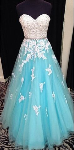 A-Line Tulle Blue Long Prom Dress