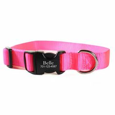 Personalized Buckle Nylon Dog Collars - Great for dogs of all shapes and sizes! 14 fun colors for all dog personalities. $29 at www.dogids.com