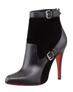 Christian Louboutin Canassone Buckled Suede-Leather Bootie