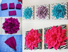 How to DIY Beautiful 3D Felt Dahlia Flower Wall Art | www.FabArtDIY.com