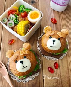 Ted bread rolls by Cute Snacks, Cute Desserts, Cute Food, Good Food, Yummy Food, Food Art For Kids, Cooking With Kids, Vegetable Decoration, Japanese Bread
