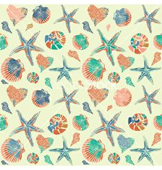 Seashells pattern background vector 919485 - by zolssa on VectorStock®