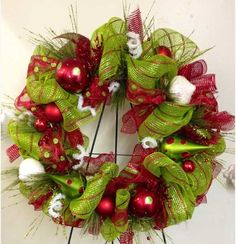 DIY Christmas Wreaths for Front Door - Bright Green - Click Pick for 24 Easy Christmas Decorating Ideas