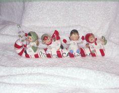Vintage Christmas LEFTON Candy Cane Sleigh with Angel Kids Chenille bottle brush tree Mercury Beads Large piece Figurine. $155.00, via Etsy.