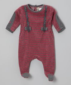 Take a look at this Raspberry Stripe Velour Footie - Infant by All Navy on #zulily today!