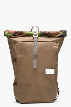 Nanamica Brown Camo-print Roll-top Cycling Backpack for men | SSENSE