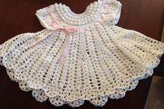 Crocheted baby dress cream by OnceUponARoll on #Zibbet