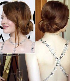 Penteado madrinha de casamento - Hairstyle godmother- Best hair  Emma Stone Golden Globe - Globo de Ouro 2017 | http://modaefeminices.com.br/2017/01/09/look-de-emma-stone-e-um-dos-mais-elogiados-do-golden-globes-globo-de-ouro-2017/