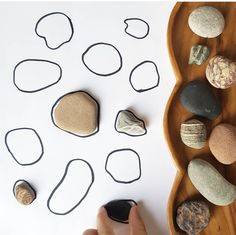I made this little puzzle for S by just drawing round interesting stones on a piece of paper! Sensory Activities Toddlers, Nature Activities, Preschool Learning Activities, Games For Toddlers, Math Writing, Shape Puzzles, Christmas Ornament Crafts, Toddler Play, Kids Playing