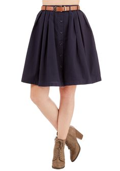 Living the Dream Skirt in Navy. Each day when you dress, you feel fortunate to wear this navy-blue skirt. #blue #modcloth