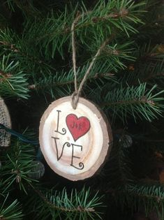 Couple's Ornament — Custom wood burned LOVE Valentine's Day/Christmas/Wedding ornament personalized with initials - Verzierungen Ideen Wedding Christmas Ornaments, Easy Diy Christmas Gifts, Wedding Ornament, Christmas Wood, Diy Christmas Ornaments, Christmas Decorations, Couple Ornaments Diy, Wood Slice Crafts, Wood Burning Crafts