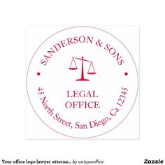 Your office logo lawyer attorney legal office self-inking stamp Unique Office Supplies, Lawyer Office, Office Logo, Attorney At Law, Modern Typography, Self Inking Stamps, Stamping Up, State Art, Brand You