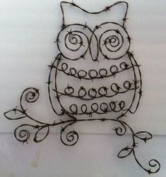 Hey, I found this really awesome Etsy listing at https://www.etsy.com/listing/259760170/barbed-wire-owl-wall-art